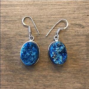 Beautiful Blue Druzy 925 Sterling Earrings